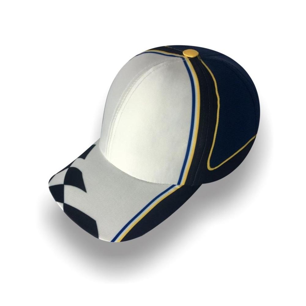 Gorra Diplomatics Racing Montecarlo de sarga color blanco y negro toque de ayul y amarillo
