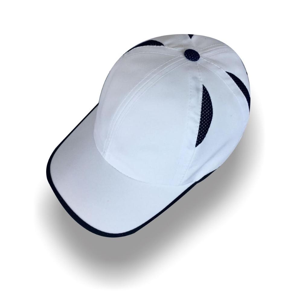 Gorra Diplomatics Vienna estilo tenis de microfibra color blanca con gajos negros